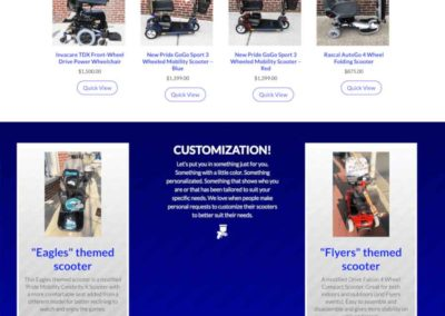 Landing Page with featured products, specialty service and social
