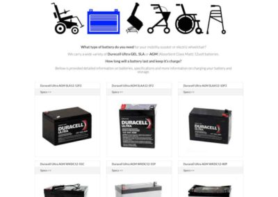 Mobility Scooter Batteries page with accordion sections