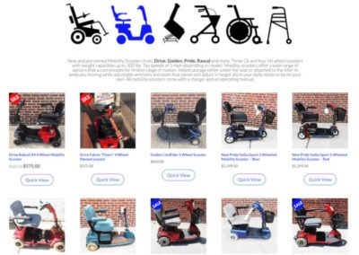 Main shop page with large images aimed at target audience