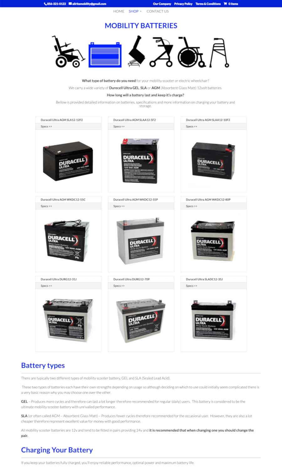 Allrite Mobility: Mobility Batteries Page