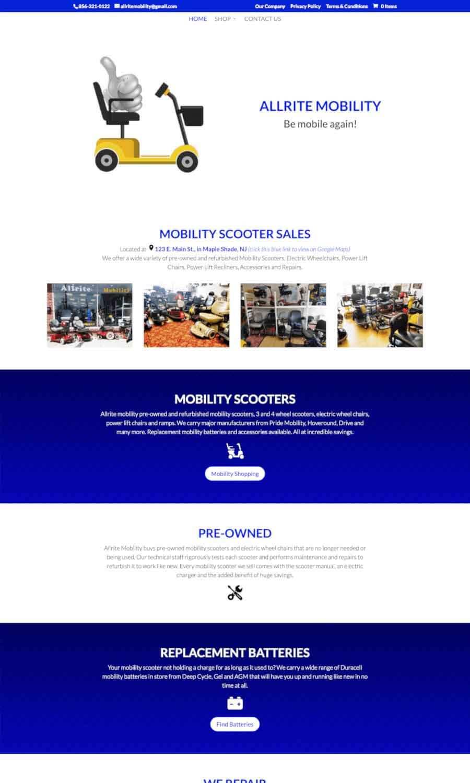 Allrite Mobility Landing Page
