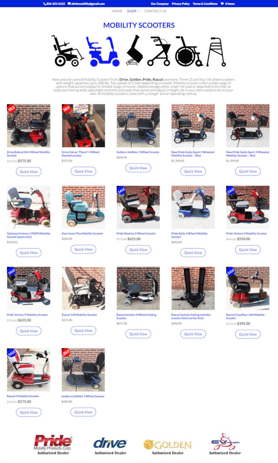 Allrite Mobility: Mobility Scooter Shop Page