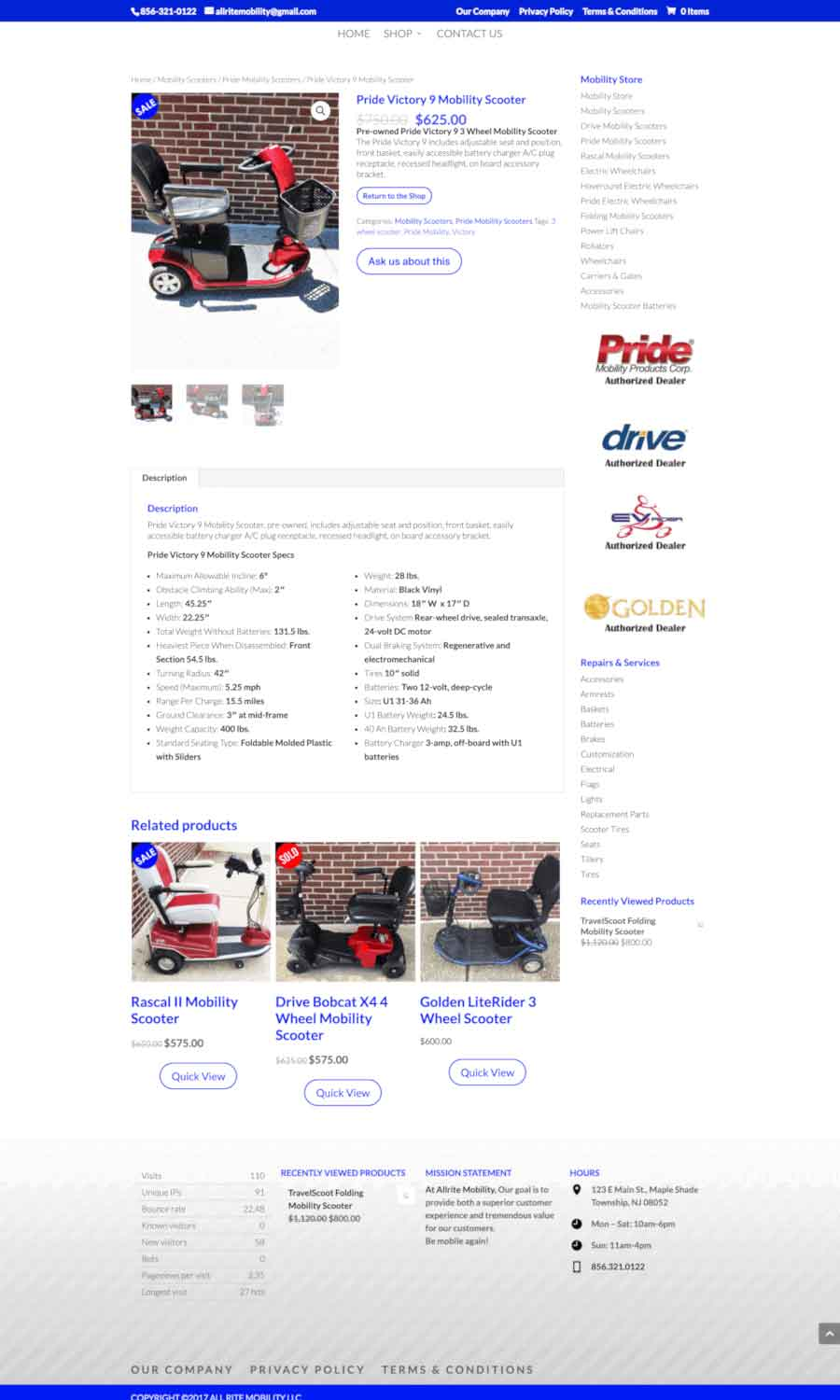 Allrite Mobility: Product Detail Page