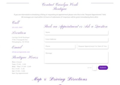 Carolyn Verdi Boutique contact page information