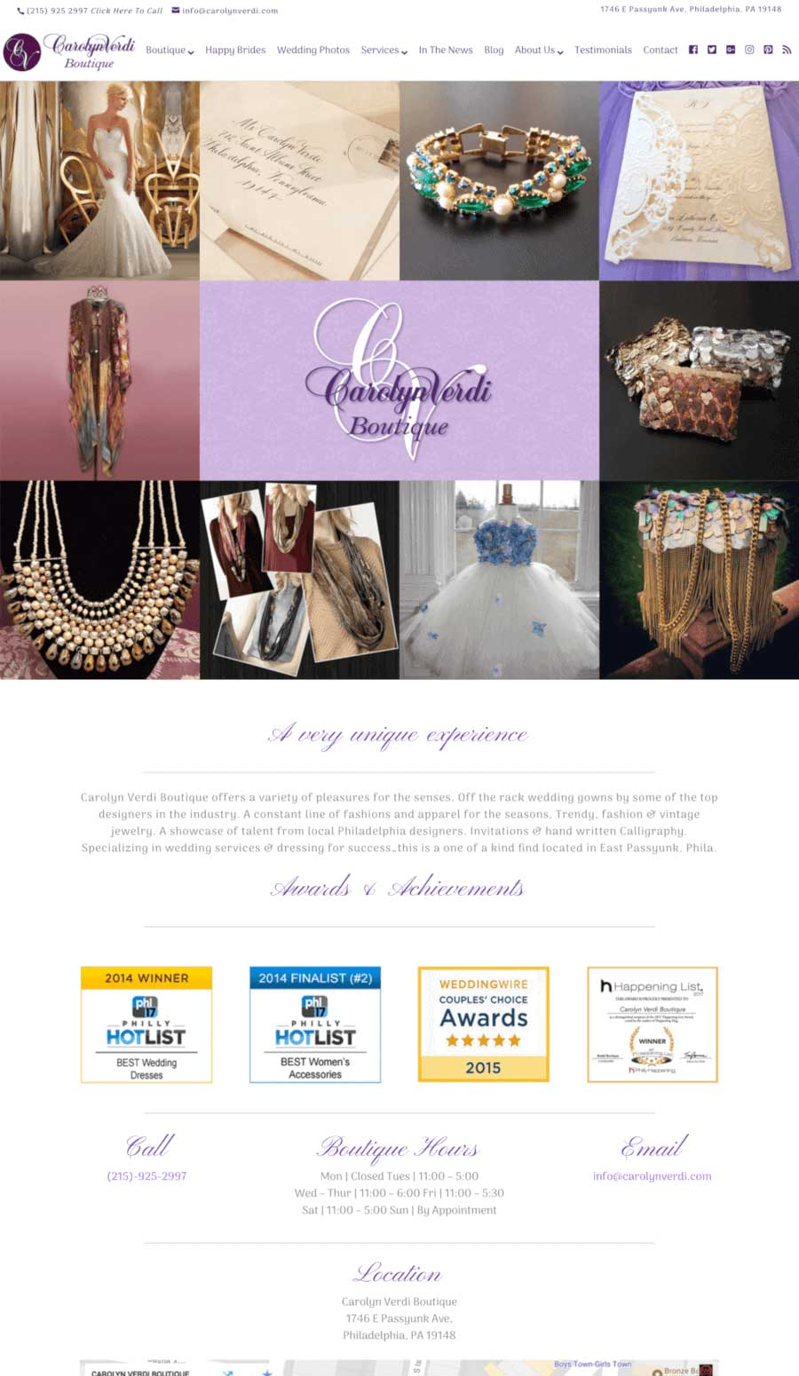 Carolyn Verdi Boutique Landing Page