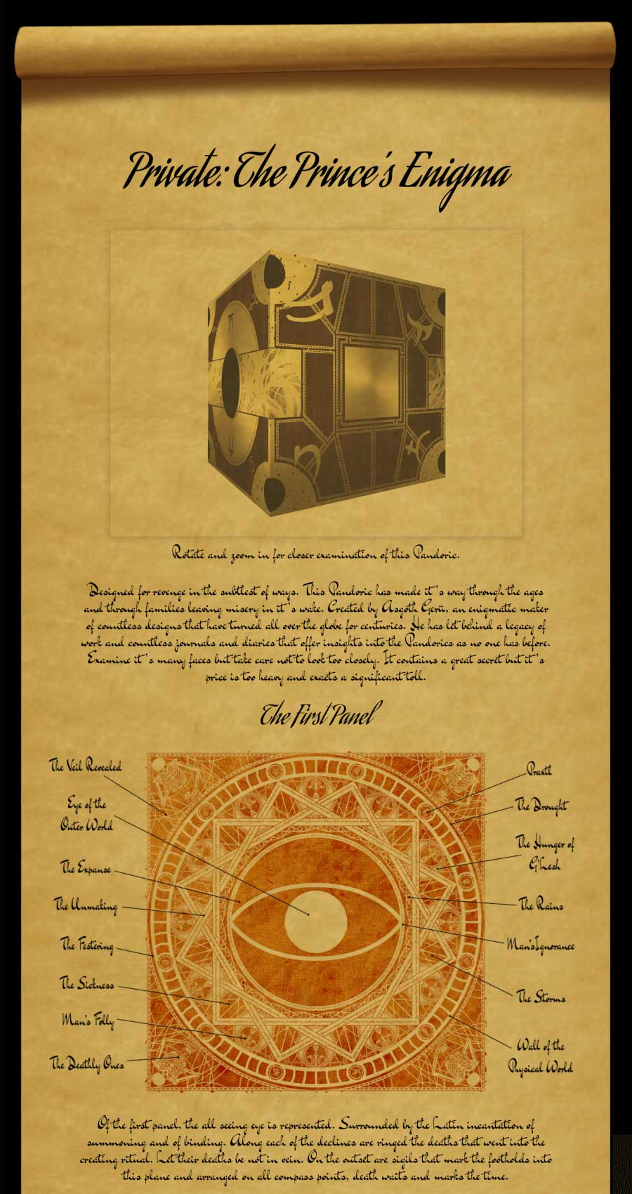 The Followers of the Pandorics: Schematic Page