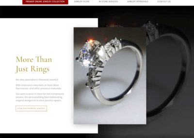 More Than Just Rings Landing Page. 'Online collections' button in red.