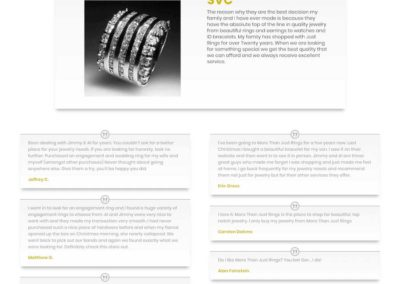 More Than Just Rings Testimonials page with styled layout
