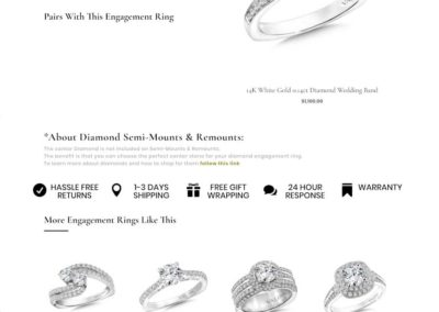 More Than Just Rings Product layout below the fold. Reinforced CTA's, message on product, upsells