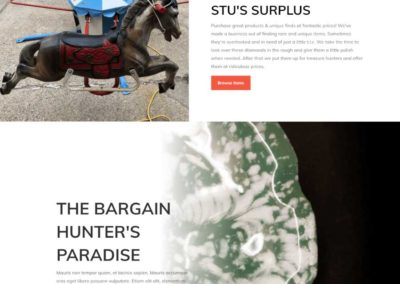 Stus Surplus Landing page above the fold